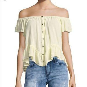 NWT Free people boho off shoulder yellow top